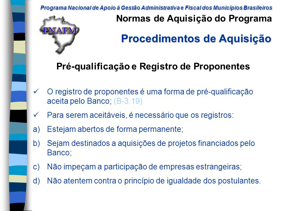 Pré-qualificação e Registro de Proponentes