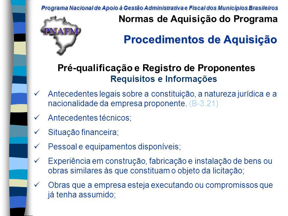 Pré-qualificação e Registro de Proponentes Requisitos e Informações