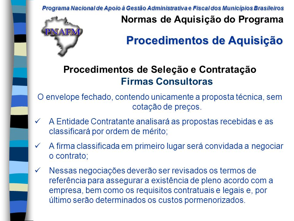 Procedimentos de Seleção e Contratação Firmas Consultoras