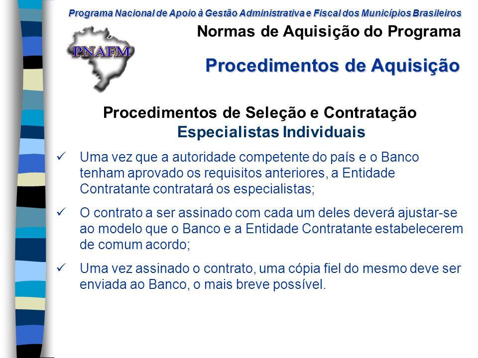 Procedimentos de Seleção e Contratação Especialistas Individuais