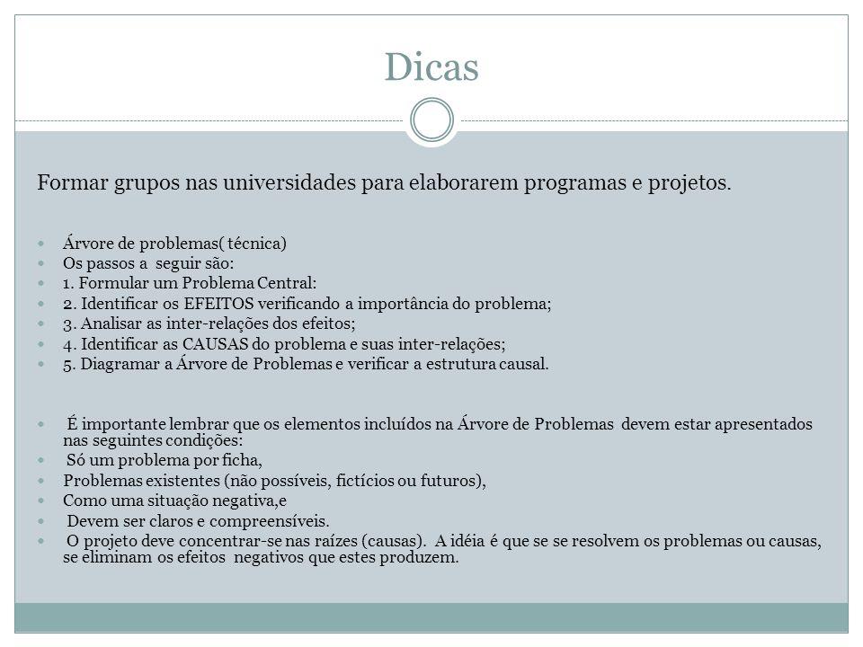 Dicas Formar grupos nas universidades para elaborarem programas e projetos. Árvore de problemas( técnica)