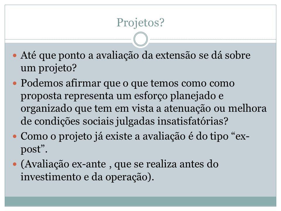 Projetos Até que ponto a avaliação da extensão se dá sobre um projeto