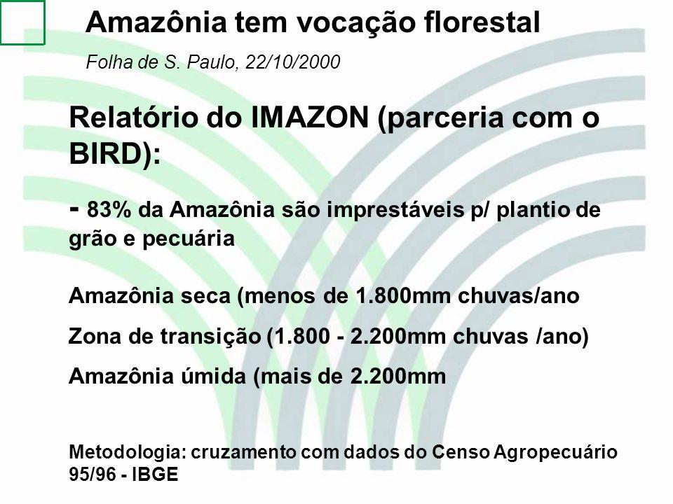 Amazônia tem vocação florestal