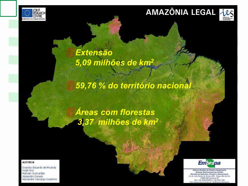 Extensão 5,09 milhões de km2. 59,76 % do território nacional.