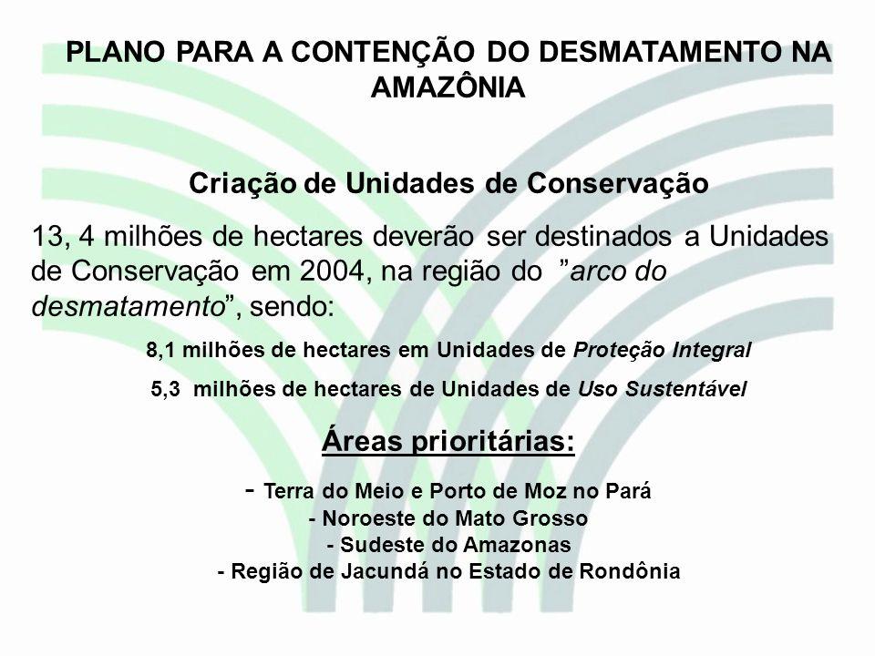 PLANO PARA A CONTENÇÃO DO DESMATAMENTO NA AMAZÔNIA