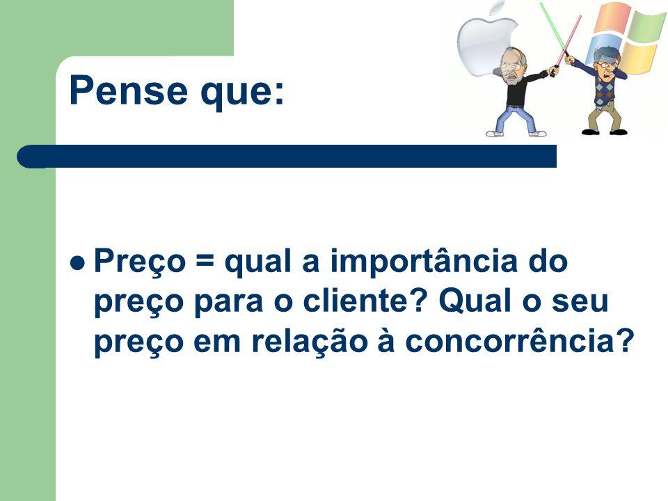 Pense que:Preço = qual a importância do preço para o cliente.