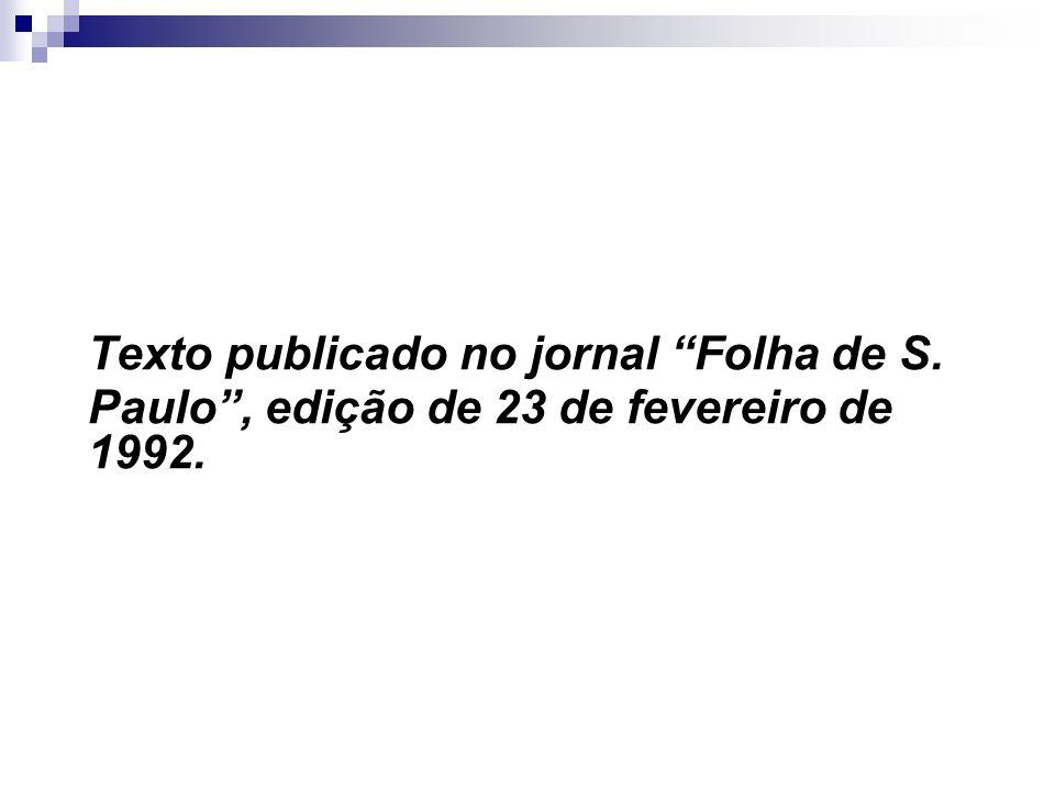 Texto publicado no jornal Folha de S