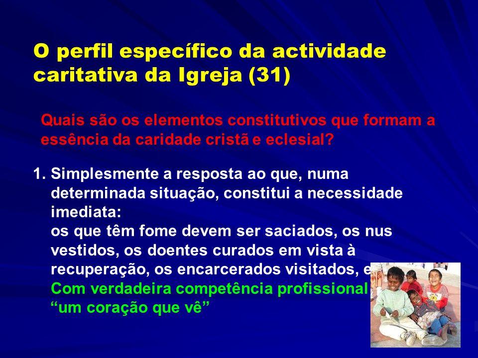 O perfil específico da actividade caritativa da Igreja (31)