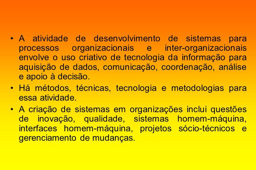 A atividade de desenvolvimento de sistemas para processos organizacionais e inter-organizacionais envolve o uso criativo de tecnologia da informação para aquisição de dados, comunicação, coordenação, análise e apoio à decisão.