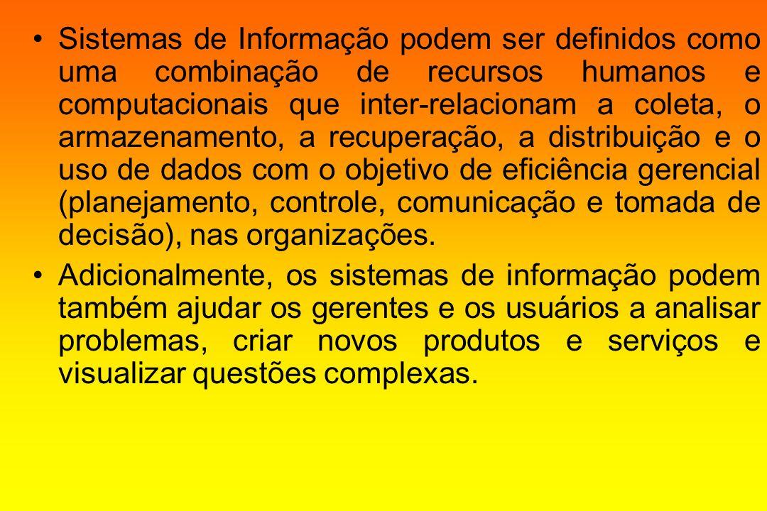Sistemas de Informação podem ser definidos como uma combinação de recursos humanos e computacionais que inter-relacionam a coleta, o armazenamento, a recuperação, a distribuição e o uso de dados com o objetivo de eficiência gerencial (planejamento, controle, comunicação e tomada de decisão), nas organizações.