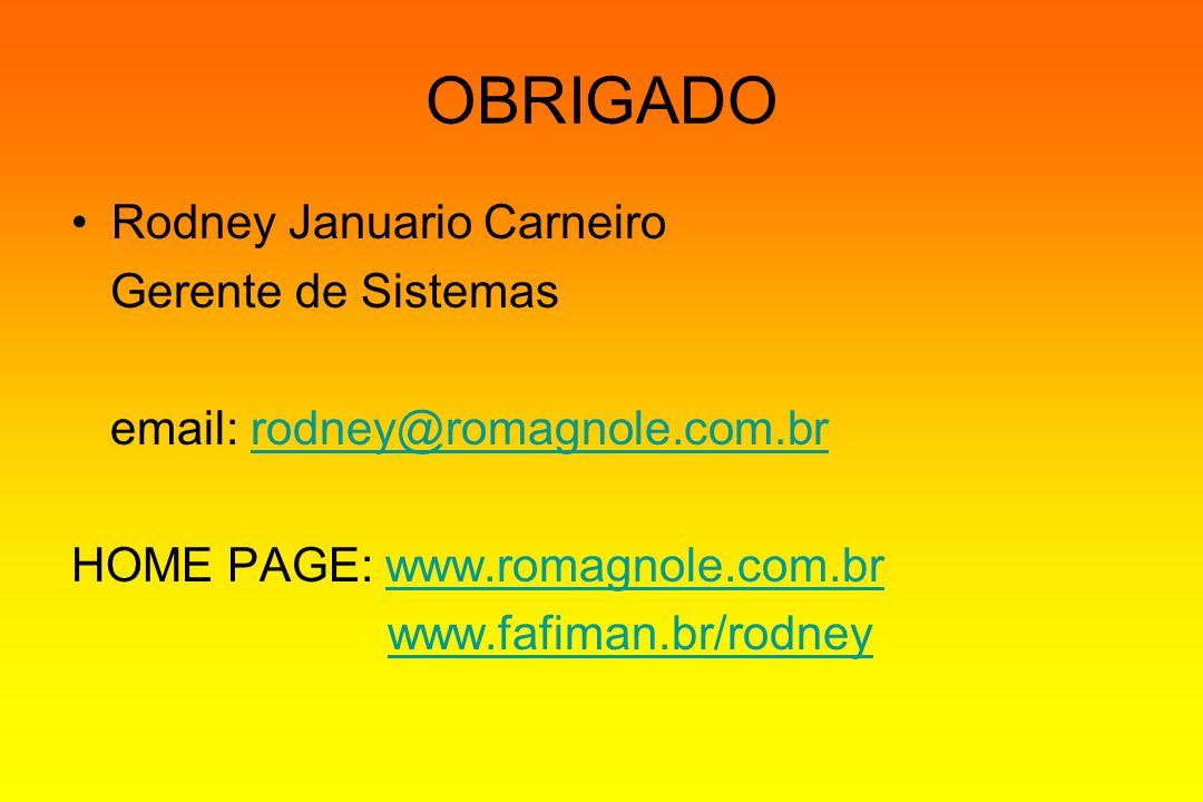OBRIGADO Rodney Januario Carneiro Gerente de Sistemas