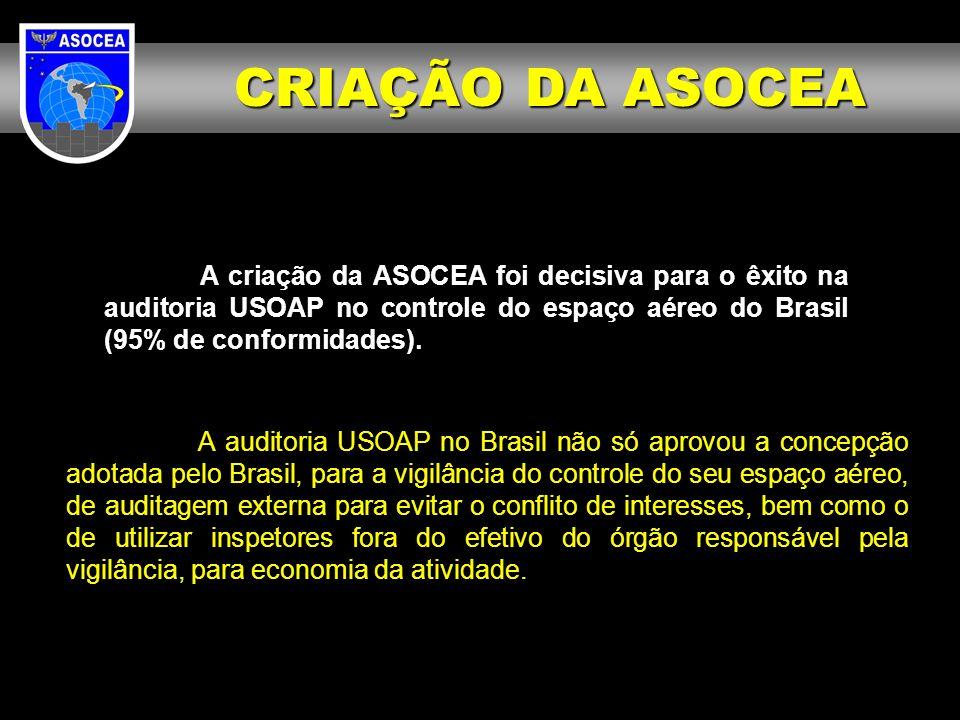 CRIAÇÃO DA ASOCEA A criação da ASOCEA foi decisiva para o êxito na auditoria USOAP no controle do espaço aéreo do Brasil (95% de conformidades).