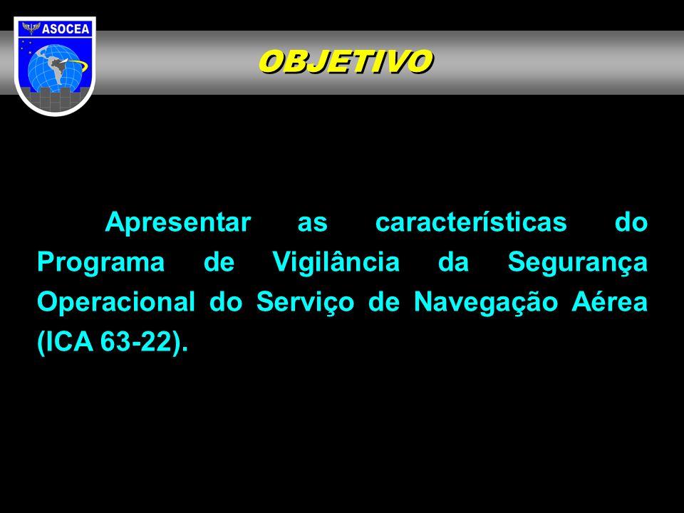 OBJETIVOApresentar as características do Programa de Vigilância da Segurança Operacional do Serviço de Navegação Aérea (ICA 63-22).