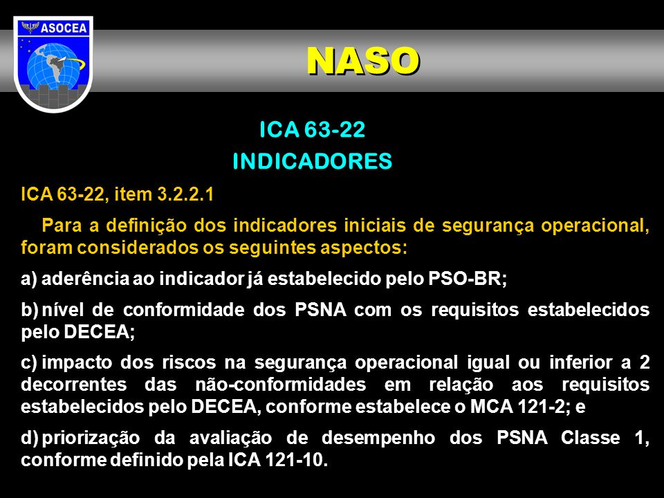 NASO ICA 63-22 INDICADORES ICA 63-22, item 3.2.2.1