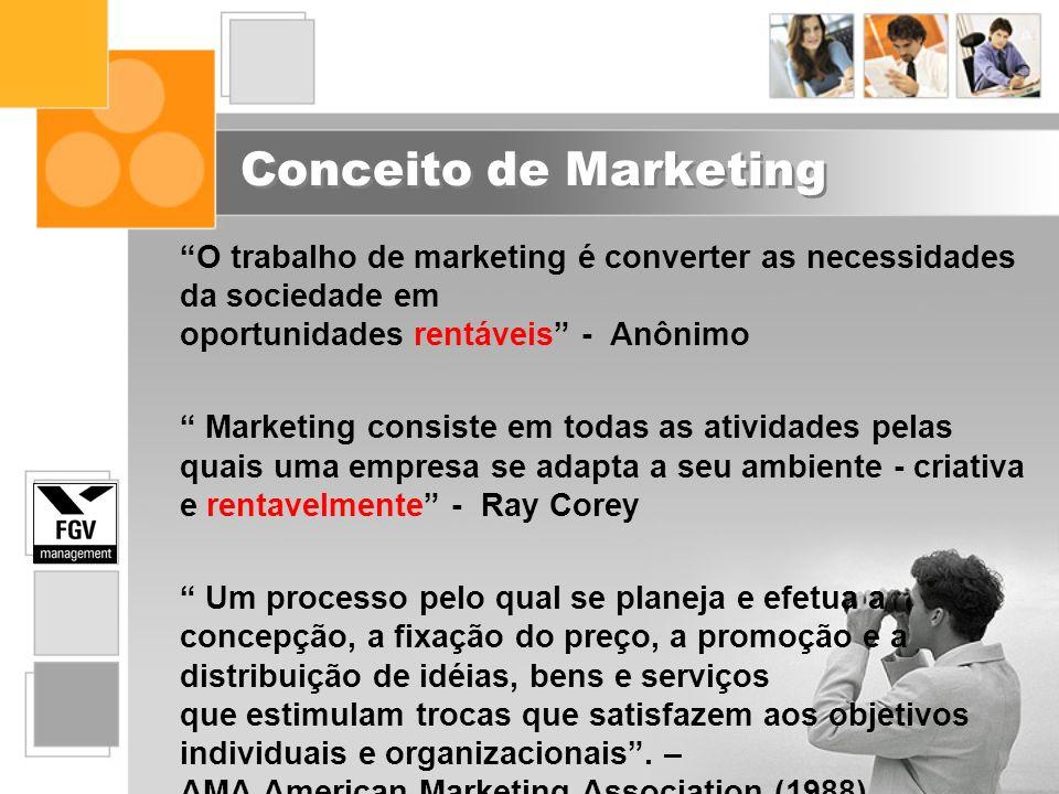 Conceito de Marketing O trabalho de marketing é converter as necessidades da sociedade em oportunidades rentáveis - Anônimo.