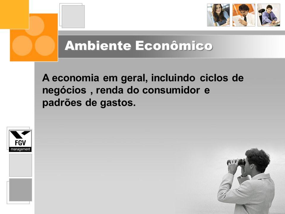 Ambiente Econômico A economia em geral, incluindo ciclos de negócios , renda do consumidor e padrões de gastos.
