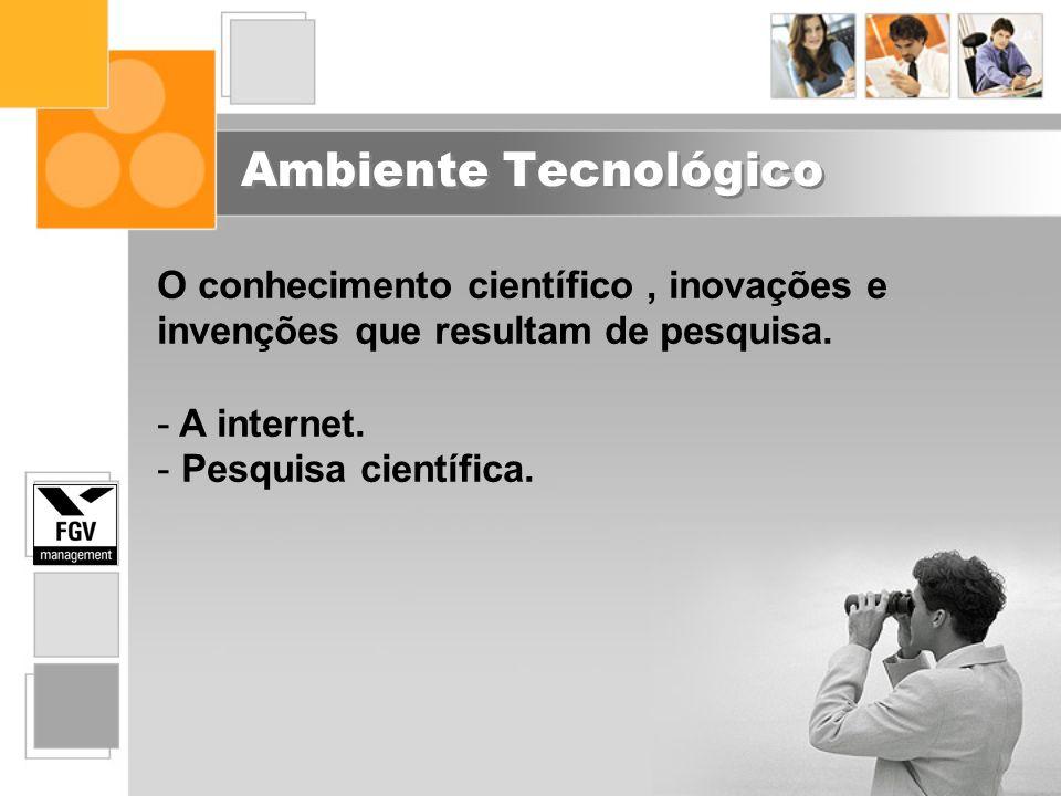 Ambiente Tecnológico O conhecimento científico , inovações e invenções que resultam de pesquisa. A internet.
