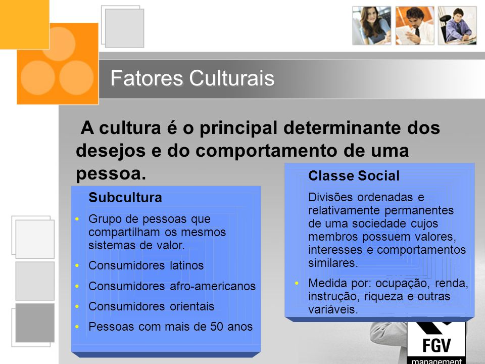 Fatores Culturais A cultura é o principal determinante dos desejos e do comportamento de uma pessoa.