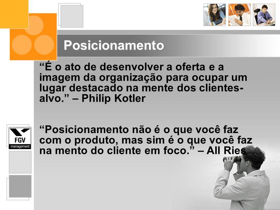 É o ato de desenvolver a oferta e a imagem da organização para ocupar um lugar destacado na mente dos clientes-alvo. – Philip Kotler