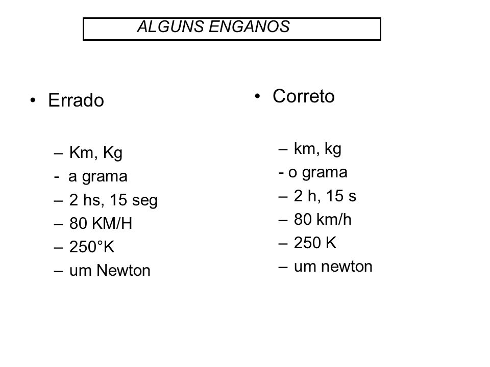 Correto Errado ALGUNS ENGANOS km, kg Km, Kg - o grama - a grama