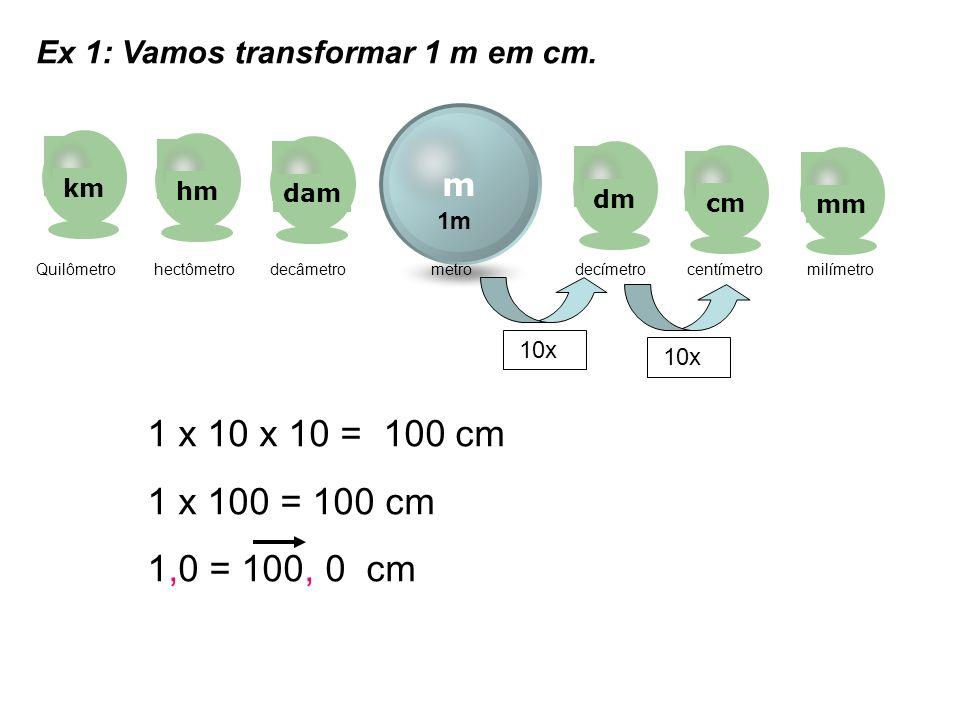 1 x 100 = 100 cm 1,0 = 100, 0 cm Ex 1: Vamos transformar 1 m em cm. m