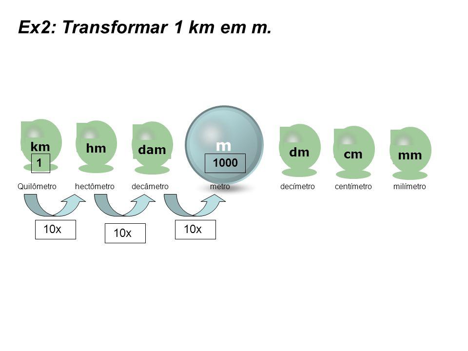Ex2: Transformar 1 km em m. m km hm dam dm cm mm 1 1000 10x 10x 10x