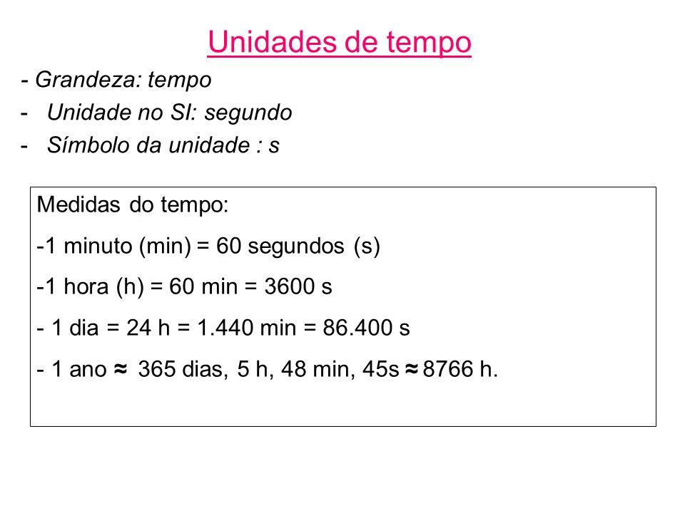 Unidades de tempo - Grandeza: tempo Unidade no SI: segundo
