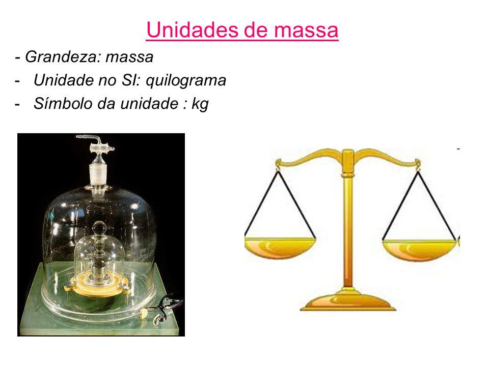 Unidades de massa - Grandeza: massa Unidade no SI: quilograma