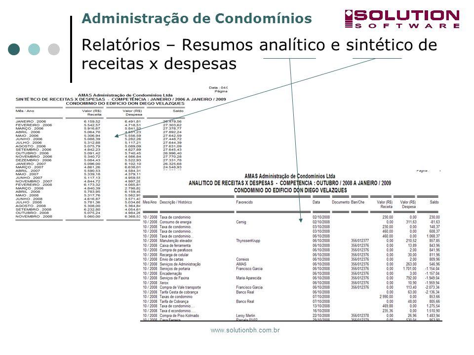 Relatórios – Resumos analítico e sintético de receitas x despesas