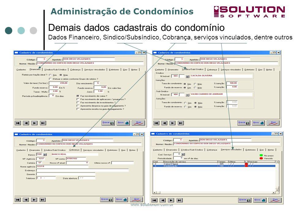 sssssssss Demais dados cadastrais do condomínio Dados Financeiro, Sindico/Subsíndico, Cobrança, serviços vinculados, dentre outros.