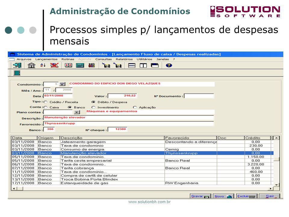 Processos simples p/ lançamentos de despesas mensais