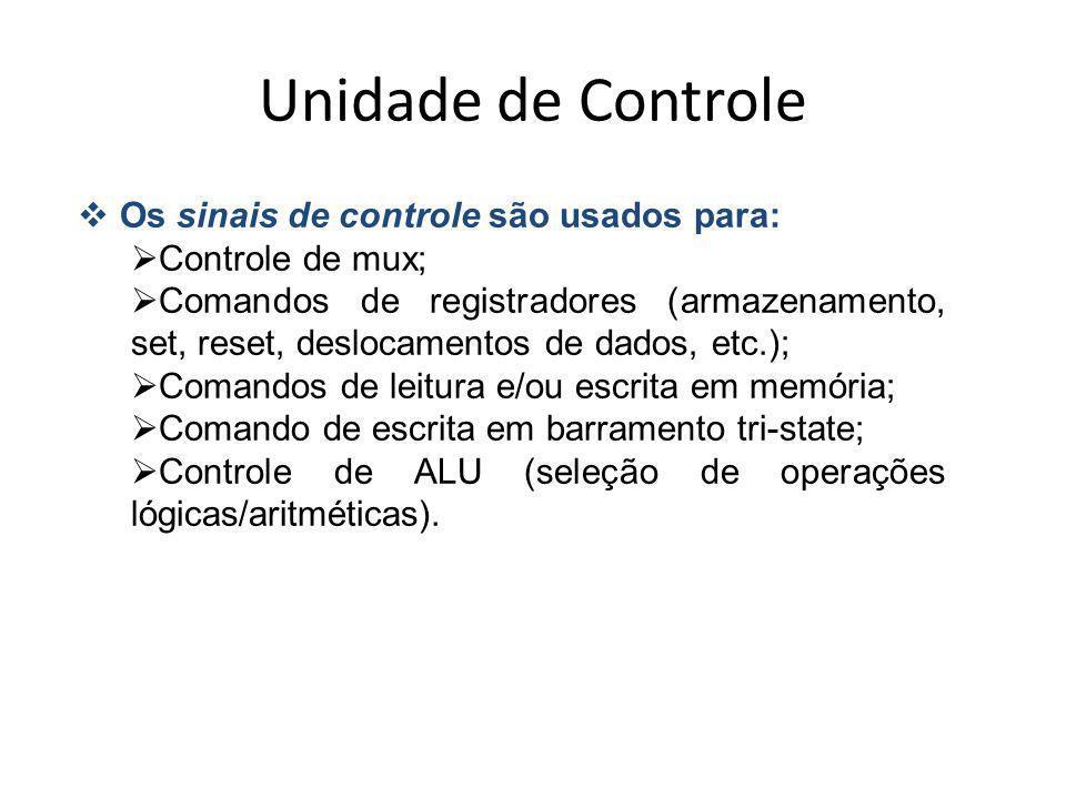 Unidade de Controle Os sinais de controle são usados para: