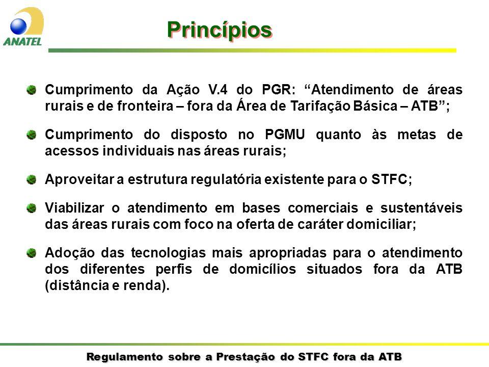 PrincípiosCumprimento da Ação V.4 do PGR: Atendimento de áreas rurais e de fronteira – fora da Área de Tarifação Básica – ATB ;