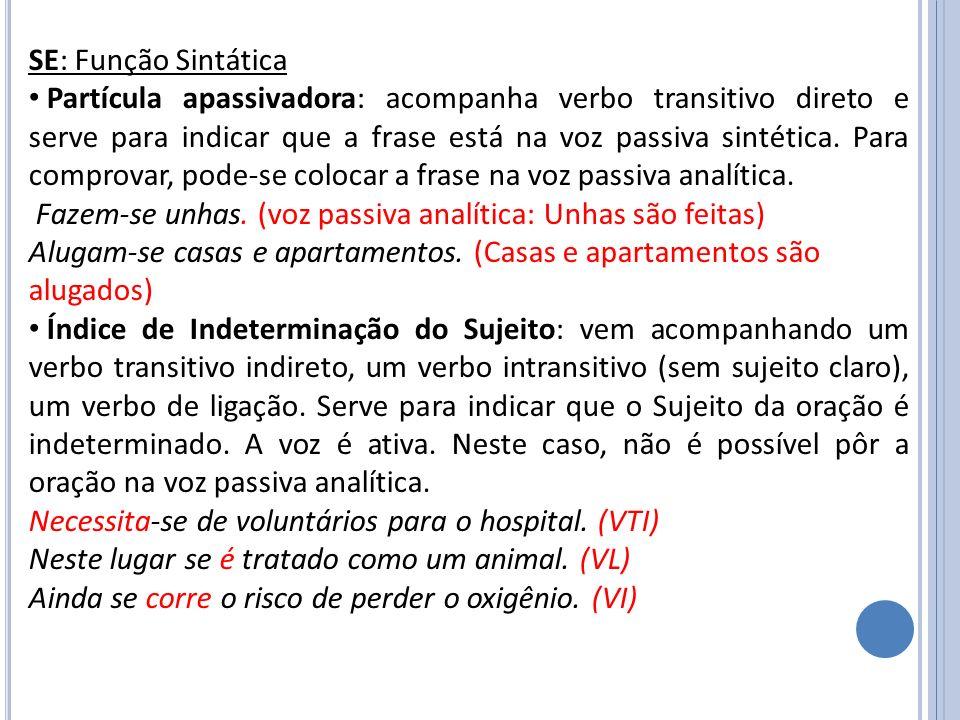 SE: Função Sintática