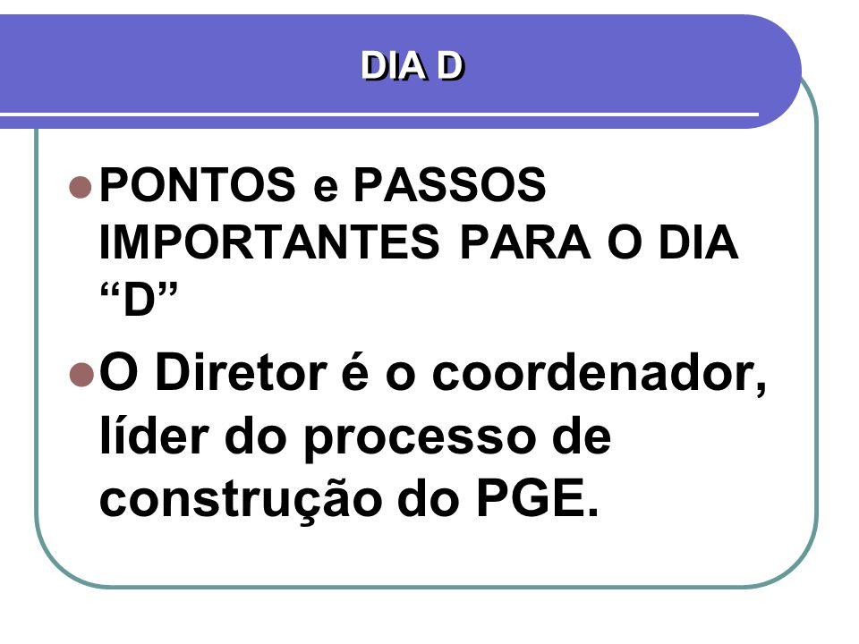 O Diretor é o coordenador, líder do processo de construção do PGE.
