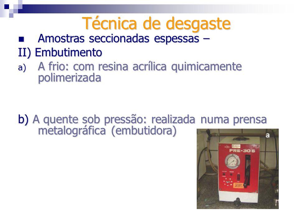 Técnica de desgaste Amostras seccionadas espessas – II) Embutimento