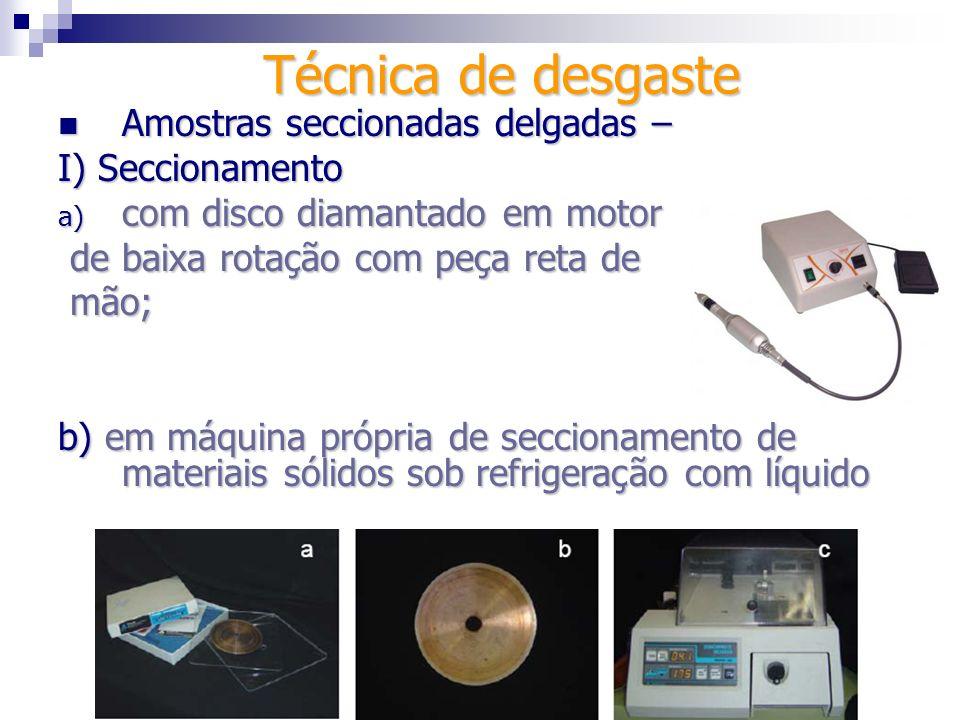 Técnica de desgaste Amostras seccionadas delgadas – I) Seccionamento