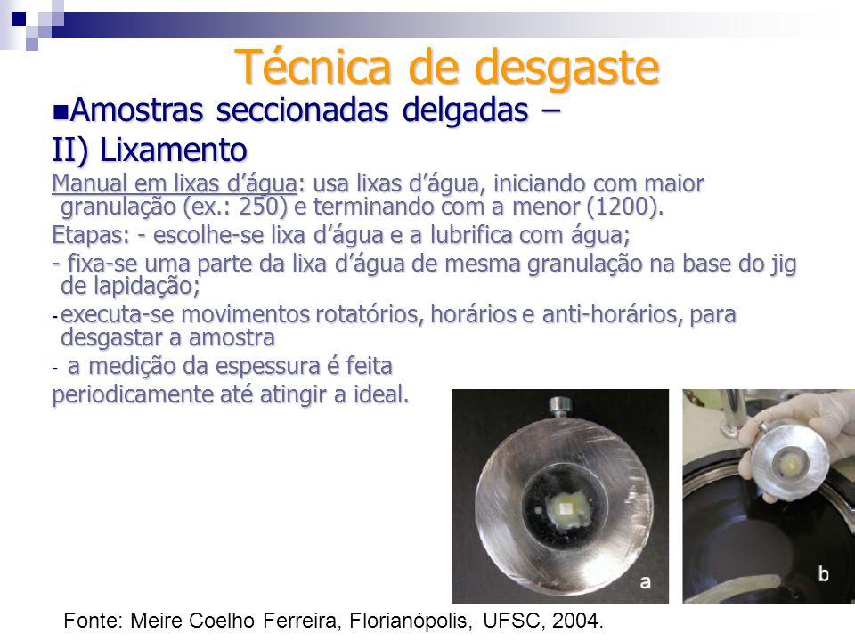 Técnica de desgaste Amostras seccionadas delgadas – II) Lixamento