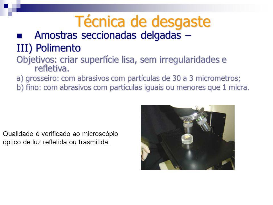 Técnica de desgaste Amostras seccionadas delgadas – III) Polimento