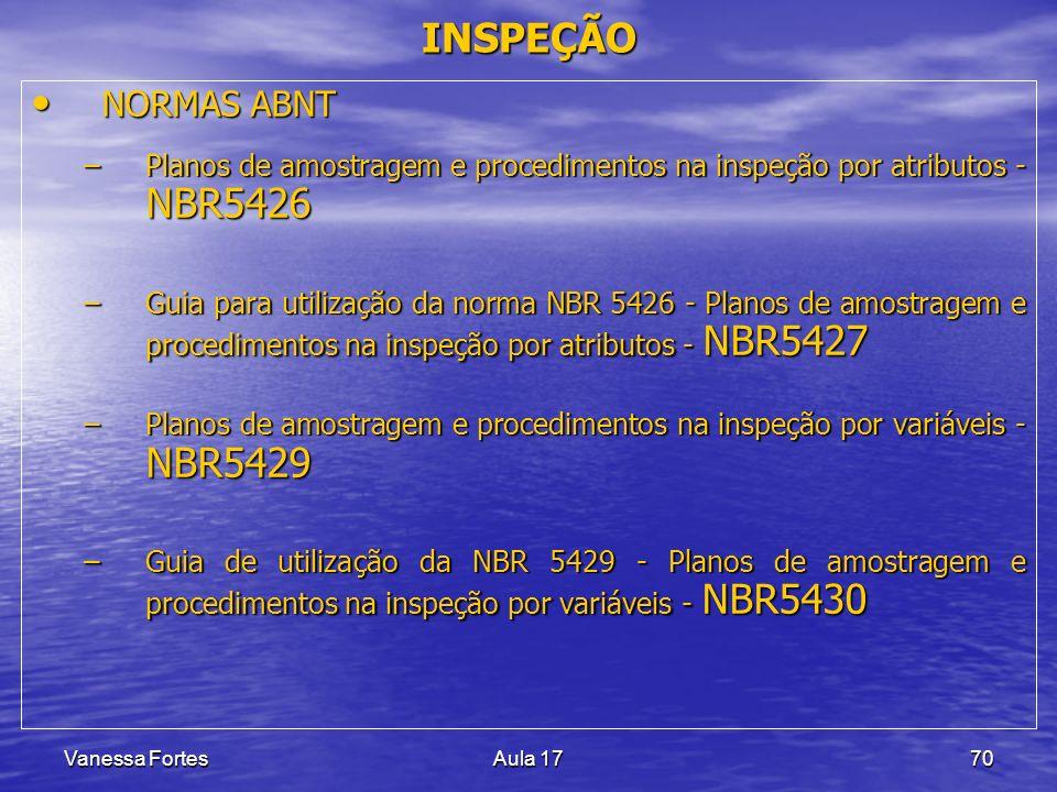 INSPEÇÃO NORMAS ABNT. Planos de amostragem e procedimentos na inspeção por atributos - NBR5426.