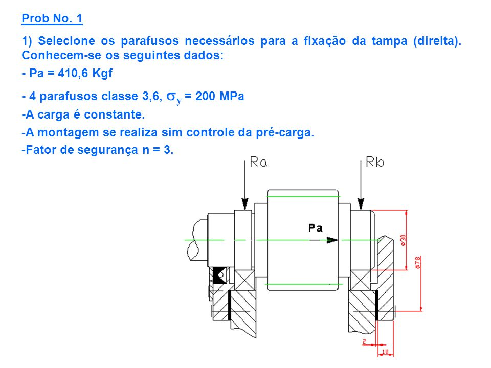 Prob No. 1 1) Selecione os parafusos necessários para a fixação da tampa (direita). Conhecem-se os seguintes dados: