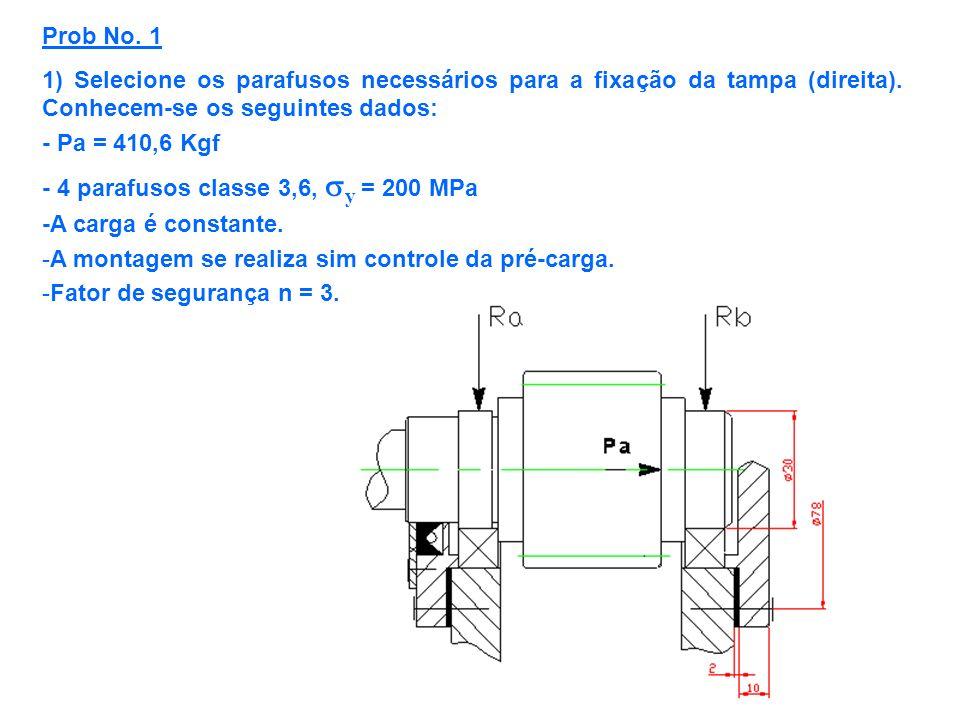 Prob No. 11) Selecione os parafusos necessários para a fixação da tampa (direita). Conhecem-se os seguintes dados: