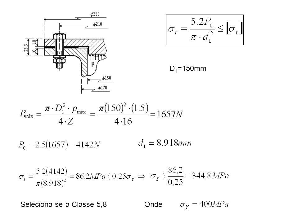 D1=150mm Seleciona-se a Classe 5,8 Onde