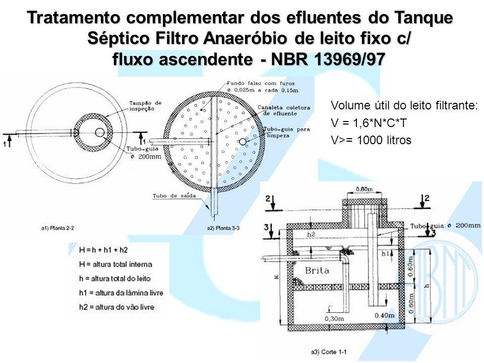 Tratamento complementar dos efluentes do Tanque Séptico Filtro Anaeróbio de leito fixo c/ fluxo ascendente - NBR 13969/97