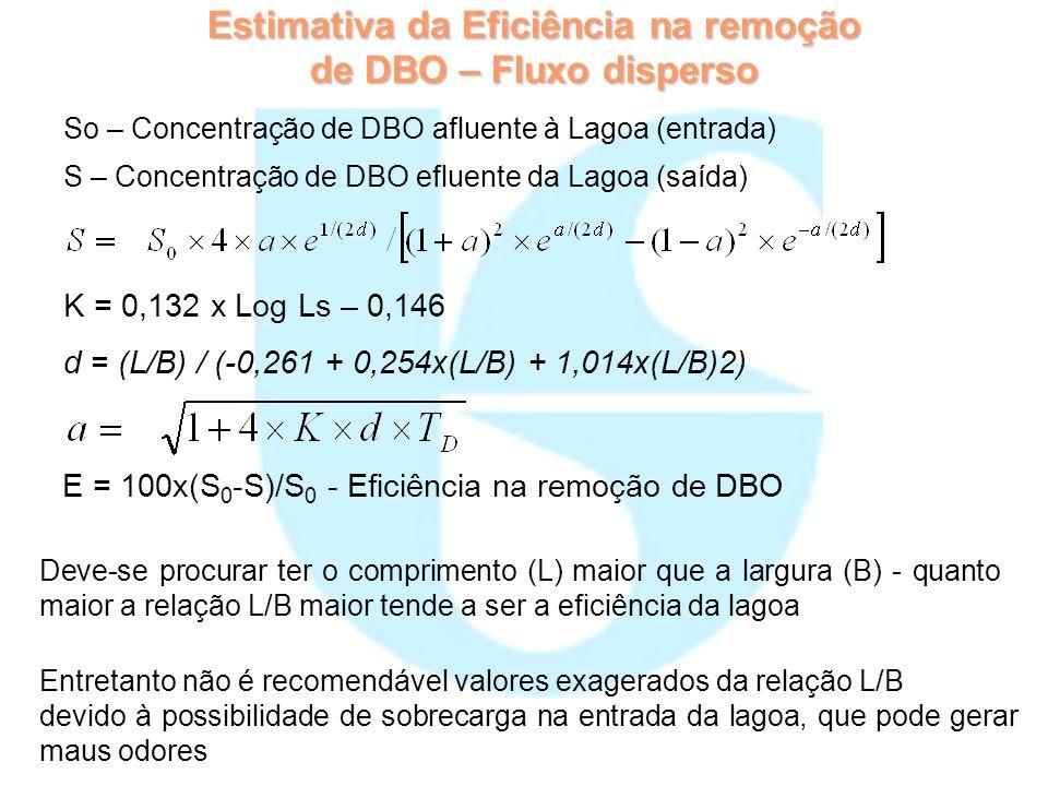 Estimativa da Eficiência na remoção de DBO – Fluxo disperso
