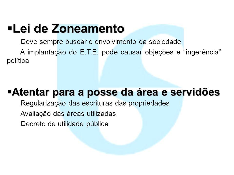 Lei de Zoneamento Atentar para a posse da área e servidões