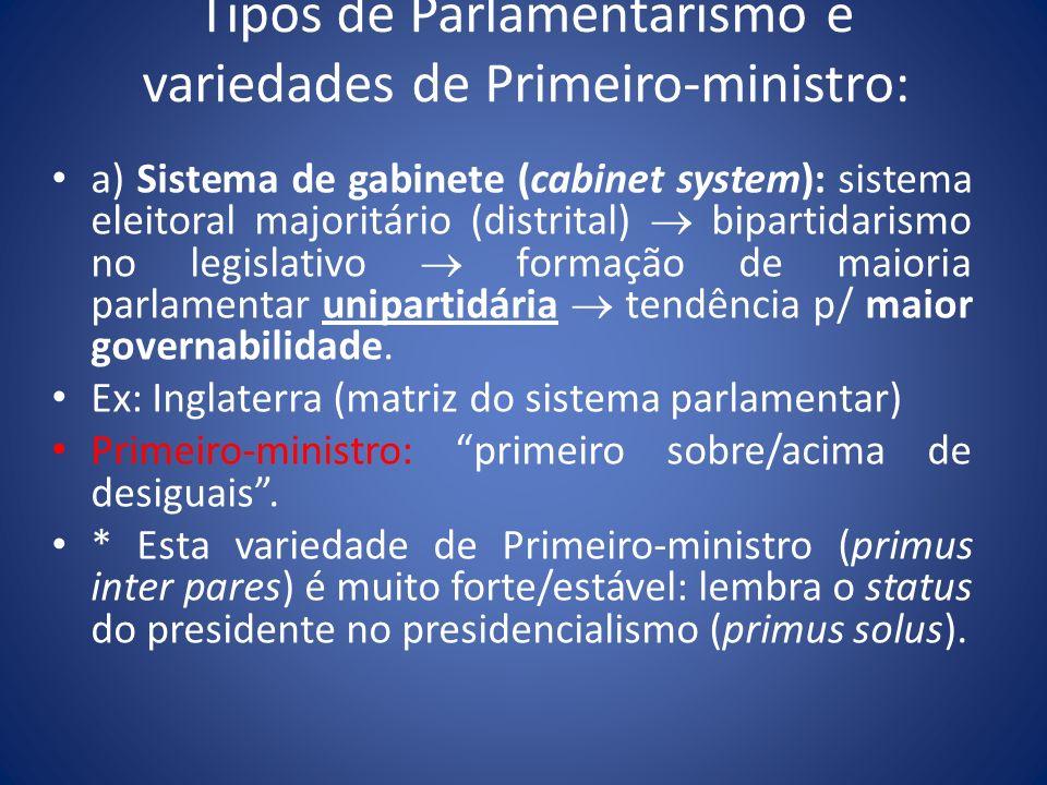 Tipos de Parlamentarismo e variedades de Primeiro-ministro:
