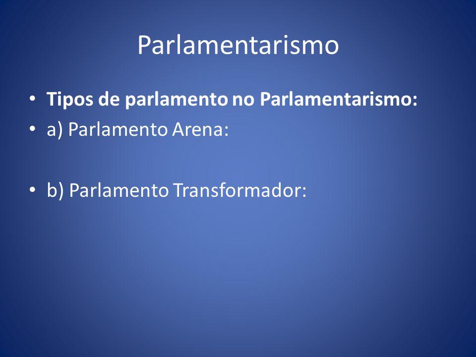 Parlamentarismo Tipos de parlamento no Parlamentarismo: