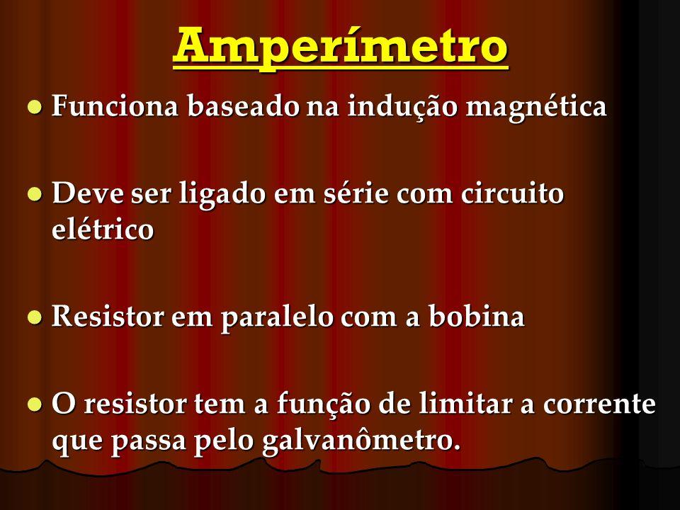 Amperímetro Funciona baseado na indução magnética