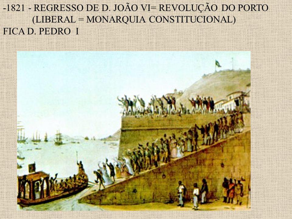 -1821 - REGRESSO DE D. JOÃO VI= REVOLUÇÃO DO PORTO